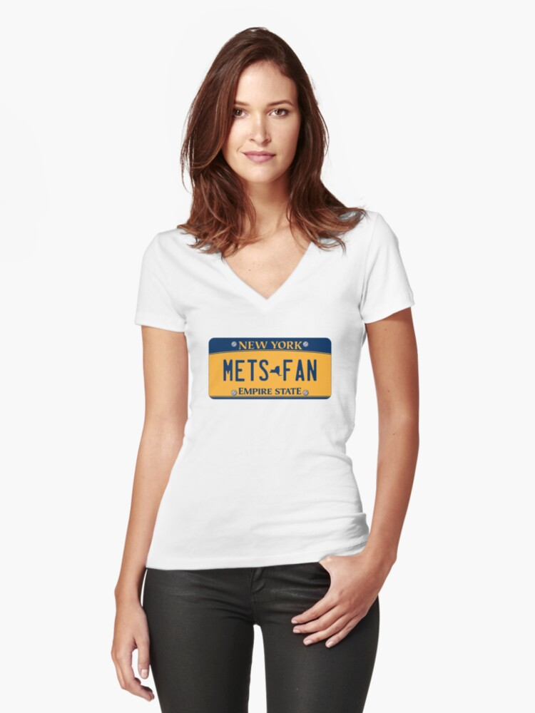'Mets Fan' New York License Plate Women's Fitted V-Neck T-Shirt Front