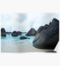 Black rocks on the seashore in Belitung Island. Poster