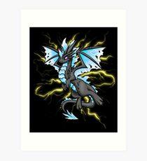 Blue Lightning Dragon Art Print