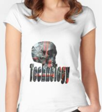 Skull Full Of Computer Brains And Technology Logo Women's Fitted Scoop T-Shirt