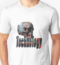 Skull Full Of Computer Brains And Technology Logo Unisex T-Shirt