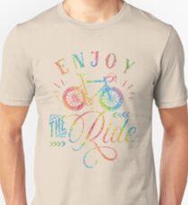 Enjoy The Ride Faux Rainbow Glitter T-Shirt