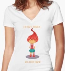 Not angry Women's Fitted V-Neck T-Shirt