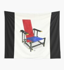 The Red And Blue Chair - Watercolor Painting Wall Tapestry
