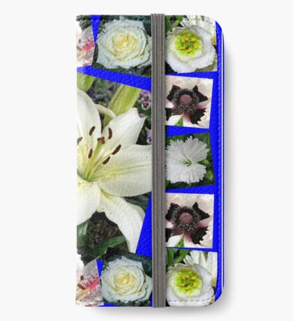 White Delight - Summer Flowers Collage iPhone Flip-Case