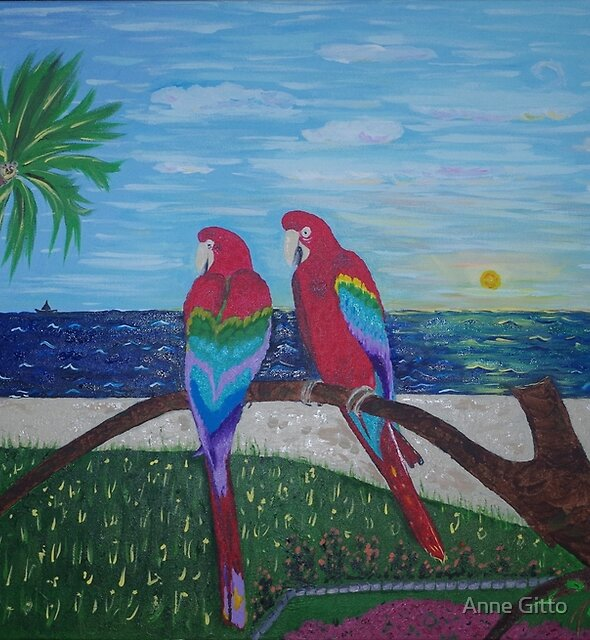 Parrots Chatting by the Sea by Anne Gitto