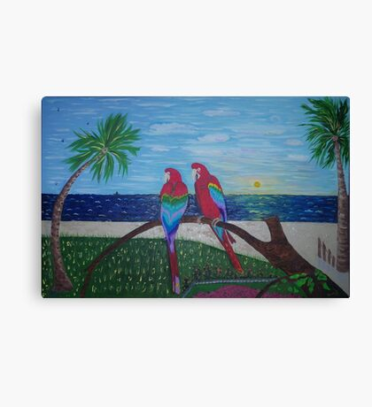 Parrots Chatting by the Sea Canvas Print