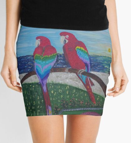 Parrots Chatting by the Sea Mini Skirt