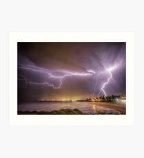 Lightning over Wollongong City Beach Art Print