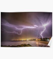 Lightning over Wollongong City Beach Poster