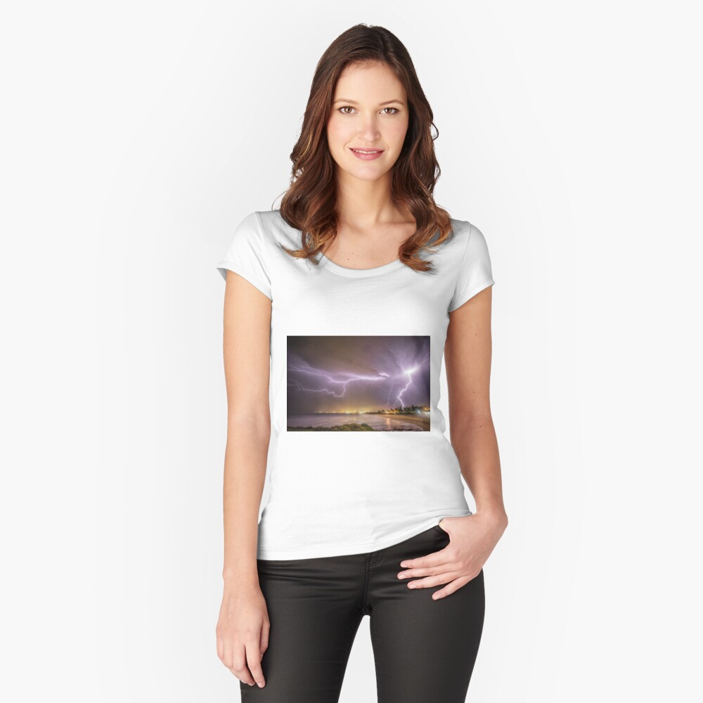 Lightning over Wollongong City Beach Women's Fitted Scoop T-Shirt Front