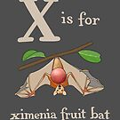 X is for Ximenia Fruit Bat by veronicafannin