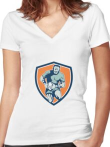 Rugby Player Running Attacking Shield Retro Women's Fitted V-Neck T-Shirt