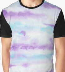Abstract Brush Strokes Purple Blue & White Graphic T-Shirt