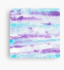 Abstract Brush Strokes Purple Blue & White Canvas Print