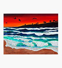 Sunset Seascape Acrylic and Sand Mixed Media Painting Photographic Print