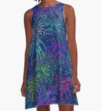 Fireworks 4th of July Colorful Summer Pretty Pattern  A-Line Dress