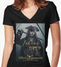 Johnny Depp Jack Women's Fitted V-Neck T-Shirt