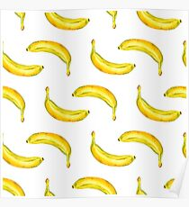 Seamless background with bananas Poster