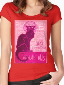 Le Chat D'Amour In Pink With Words of Love Women's Fitted Scoop T-Shirt