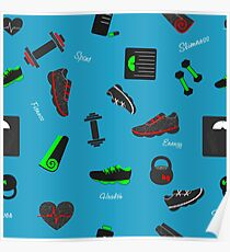 Workout. Sport and fitness elements Poster