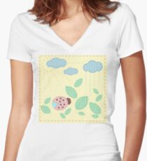 Ladybug in leaves. Plaid textile applique Women's Fitted V-Neck T-Shirt