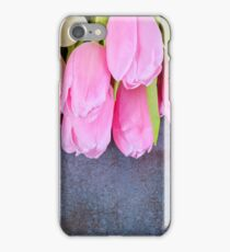 Fresh pink tulips on gray stone background iPhone Case/Skin