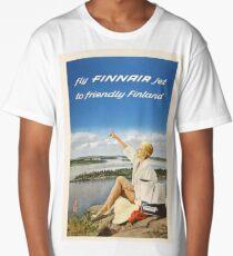 Fly FINNAIR jet to friendly Finland Long T-Shirt