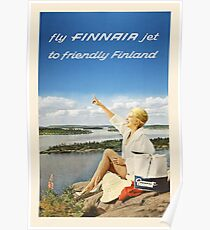 Fly FINNAIR jet to friendly Finland Poster