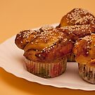 Ruddy cakes with sesame seeds  by mrivserg