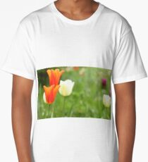 Red Tulips close to Long T-Shirt