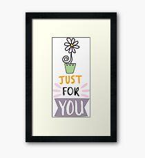 Cute design,flower and lettering Framed Print