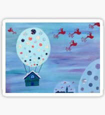 Snow Globe Hot Air Balloon Flying House with Birds Sticker