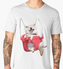 Corgi On A Swing Men's Premium T-Shirt