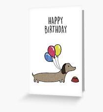 Sausage Dog Happy Birthday Card Greeting Card