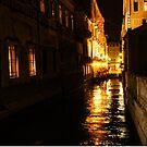 Golden Glow - Venice, Italy at Night by Georgia Mizuleva