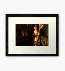 Golden Glow - Venice, Italy at Night Framed Print