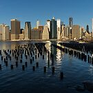Luminous Blue, Silver and Gold - Manhattan Skyline and East River by Georgia Mizuleva
