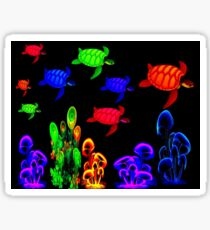 PSYCHEDELIC TURTLE MIGRATION: Abstract Print Sticker
