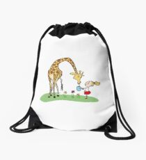 Cute Girl With Giraffe Print Drawstring Bag