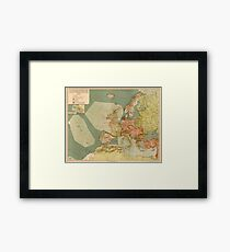 World War I German Submarine (U-Boat) Map (1918) Framed Print