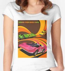 GRAND PRIX: Auto Formula Race Cars Abstract Print Women's Fitted Scoop T-Shirt
