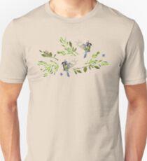 Geometric Nature with Birds Pattern (blue tit and goldcrest) Unisex T-Shirt