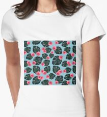 Tropical pattern n.1 - pale blue Women's Fitted T-Shirt
