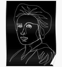 Rosa Luxemburg Single-Line Portrait Inverted Poster