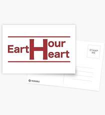 Earth Hour Herz Postkarten