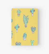 Little succulent pattern on yellow Hardcover Journal