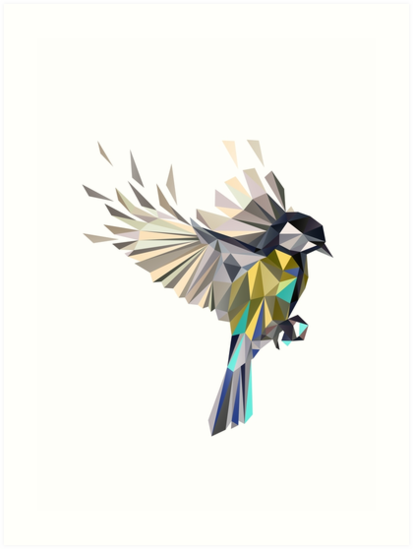 Flying Songbird Cyanistes Caeruleus / Blue Tit Bird - white by XOOXOO