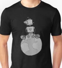 Peace Robot Sitting on Earth - Line Art Unisex T-Shirt