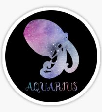 Watercolor Zodiac Aquarius Sign Sticker
